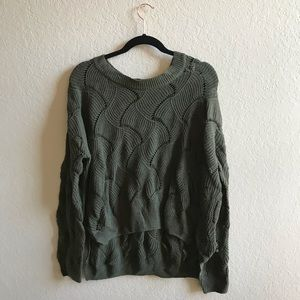 Urban Outfitters Olive Green Wavy Knit Sweater